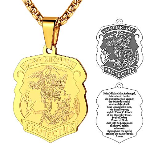 FaithHeart Saint Michael Pendant Stainless Steel St. Michael The Archangel Necklace Jewelry (Gold) - Saint Gold