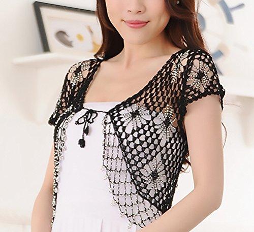 Banchetto Moda Vintage Donna Corto Hollow Nero Crochet Cardigan Da Stlie Manica Grazioso Corta Bolero Elegante Cerimonia Coprispalle Sera Top X6xwnqx