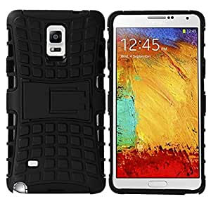 Crazy Genie Hybrid Spider Man Shockproof Case for Samsung Galaxy Note4 N9100 Phone TPU+Plastic Stand Holder Cover Phone Cases Armor Robot Kickstand Case (Black)