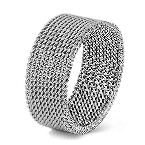 (VQYSKO Silver Woven Mesh Rings for Women Men Jewelry Stainless Steel Rings Size 6 to 10 (8))