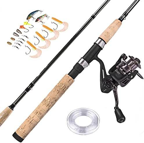 "PLUSINNO Fishing Rod and Reel Combos FULL KIT Graphite Blanks Rod Pole (2 Piece) with Reel Line Lures Hooks and Accessories Fishing Gear Organizer 7'0"" Medium"