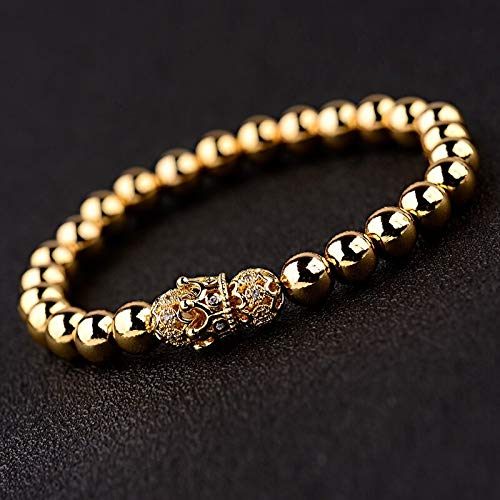 ALISETHEL Copper Bracelet for Men Oiquei 2pcs/Set Couple Bracelets for Women Men 2019 Gold 8mm Copper Bead&cz Crown Beaded Charm Bnagles Bracelet Luxury Jewelry by ALISETHEL (Image #7)