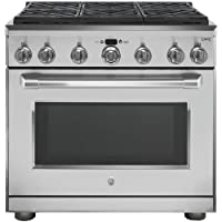 GE Cafe C2Y366SELSS 36 Inch Freestanding Dual Fuel Range with 6 Burners, Sealed Cooktop, 6.2 cu. ft. Primary Oven Capacity, in Stainless Steel