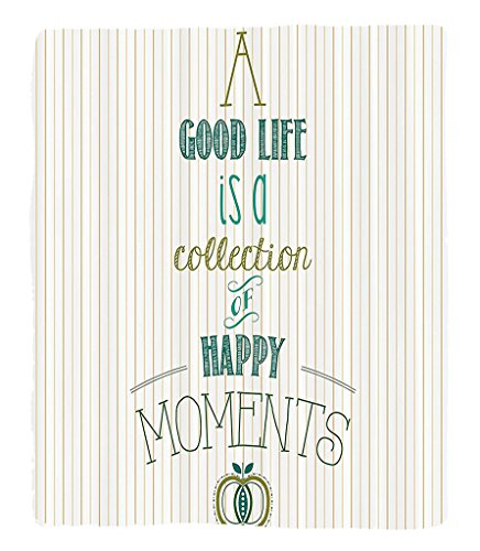 Chaoran 1 Fleece Blanket on Amazon Super Silky Soft All Season Super Plush Happy Life is a Collection of Happy Moments Encouragement Retro Classic Art Fabric et Olive Teal Tan