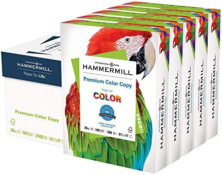 Hammermill Printer Paper, Premium Color 28 lb Copy Paper, 8.5 x 11 - 5 Ream (2,500 Sheets) - 100 Bright, Made in america