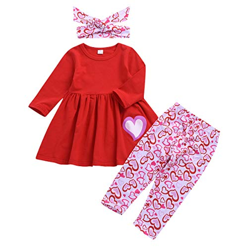 Sinhoon My First Valentine's Day Outfit Set Baby Girls Love Hearts Legging Sets Toddler Girl Long Sleeve Clothes (Love Pink, 18-24 Months)