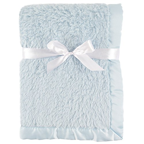 Hudson Baby Sherpa Blanket with Satin Binding, Powder Blue