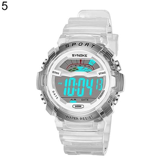 Reloj de Pulsera para niños y niñas, Esfera Redonda Deportiva Digital, Unisex, Impermeable, Luminoso: Amazon.es: Relojes