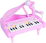 Lightahead Mini Musical Grand Piano 24 Keys Multi functional Toy with Microphone For Kids (Pink)