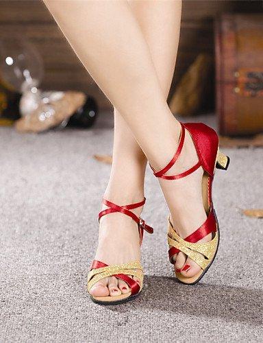Red Absatz Tanzschuhe Pailetten Anpassbare Damen Kubanischer Latin ShangYi Nicht Satin xq7waSIzI