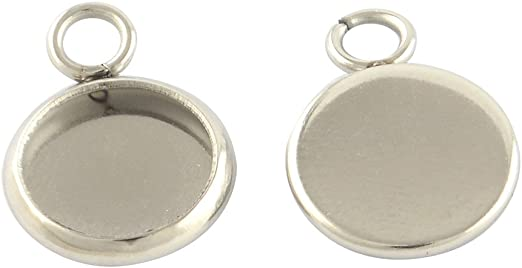 tray 14mm x 10mm 20 x 304 stainless steel drop pendant tray bezel cabochon