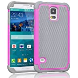 Galaxy S5 Case ,[Corner Protection] Protective Case Detachable Defender Thin Protective Anti-dirt Scratch Resistant Hard Soft Heavy Duty Rubber Bumper Case Cover for Samsung Galaxy S5(Gray/Rose)