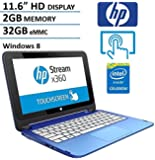 "HP Stream X360 11.6"" HD Touchscreen Convertible 2 in 1 Laptop Computer, Intel Dual Core Celeron N2840 2.16Ghz CPU, 2GB Memory, 32GB Emmc, USB 3.0, HDMI, WIFI, Windows 8 (Certified Refurbished)"