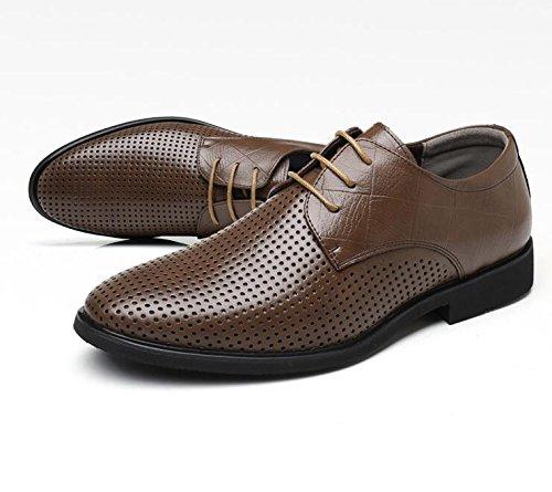Koyi Hommes Chaussures Printemps Été Nouveau Découpage Respirant Britannique Chaussures en Dentelle Business Formelle Casual Chaussures en Cuir Brown JeNJSvIz
