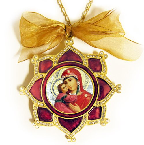 - Enameled Russian Icon Pendant Medal Ornament Madonna and Child Jesus Icon