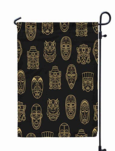 Shorping Spring Garden Flag, 12x18Inch Gold and African Historic Tribal Mask Pattern Background Aztec for Holiday and Seasonal Double-Sided Printing Yards Flags]()
