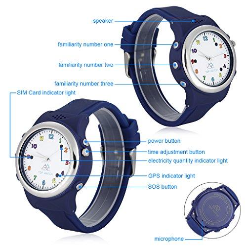 Top Watch TW061 - Smartwatch Pulsera de Reloj Infantil con GPS LBS Localizador  para Seguridad de Niños SOS Llamada Sim Android Ios 208582daeb00