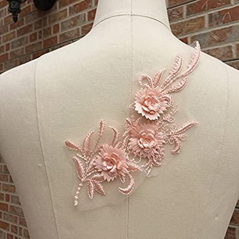 Evening Bridal Dress Lace Tulle Costume Craft Edging Embroidered Blossom Ribbon