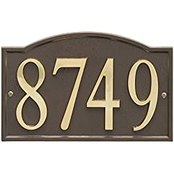 "ART & ARTIFACT by Whitehall Personalized Cast Metal Address Plaque - 11"" x 7.25"" Custom House Number Sign - Arched Rectangle with DIY Self-Adhesive Zinc Numerals - Bronze/Gold"