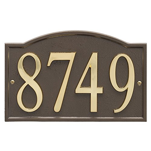 """ART & ARTIFACT by Whitehall Personalized Cast Metal Address Plaque - 11"""" x 7.25"""" Custom House Number Sign - Arched Rectangle with DIY Self-Adhesive Zinc Numerals - Bronze/Gold"""