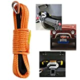 "50' x 1/4"" Synthetic Winch Rope with Protective Sheath Safer and Stronger for ATV UTV KFI Vehicle Car Motorcycle(Orange,7000+LBS)"