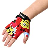 Kid's Cycling Gloves With Short Half Fingers Velcro Fastened Children Kid Child Bike Safety Accessories Hand Protect (Monsters, 17 cm)