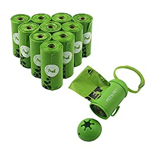Dog Poop Bags Earth-Friendly 180 Counts 10 Rolls Doggie Waste Bags Green Carrier Bags with Dispenser …