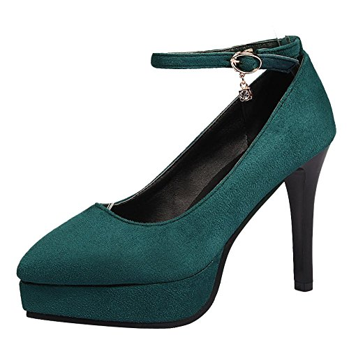 Carolbar Women's Fashion Grace High Heel Pointed Toe Buckle Court Shoes Green