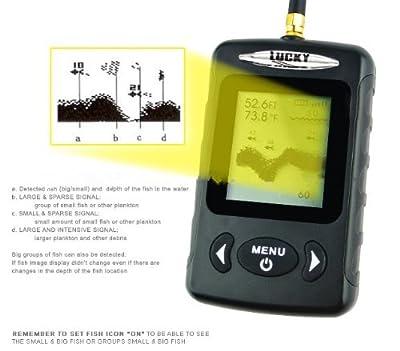 Gowe Digital Wireless Dot Matrix Sonar Sensor River Lake Sea Contour C/F Fishfinder Fish Finder 40m / 131ft (Black color)