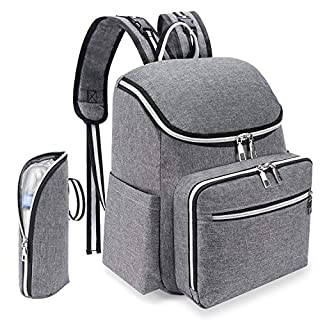 Diaper Bag Baby Diaper Backpack Large Capacity Baby Bags Baby Diaper Bag with Insulated Pockets Stroller Straps and Built-in USB Charging Port Travel Baby Diaper Bag Travel Backpack Nappy Bag(Grey)
