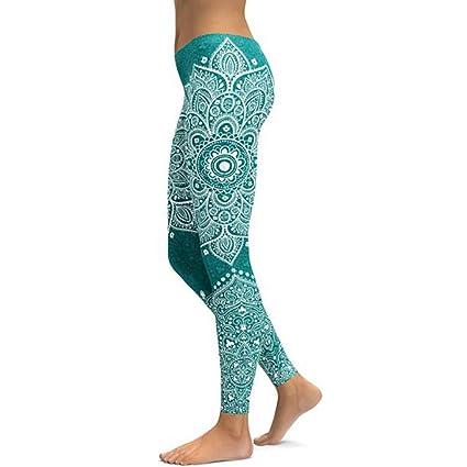 WHFDDDK Verde Mandala Yoga Leggings Yoga Pantalones ...