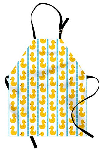 Rubber Duck Aprons, Adjustable Bib Kitchen Cooking Apron for Women Men Chef Professional for Baking Gardening - Yellow Duckies with Blue Stripes and Small Circles Baby Nursery Play Toys Pattern, White