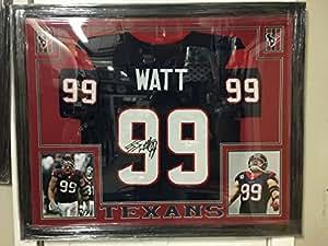 "J.J. Watt #99 Signed Houston Texans 35"" x 43"" Custom Framed Jersey (JSA COA) JSA Witnessed"