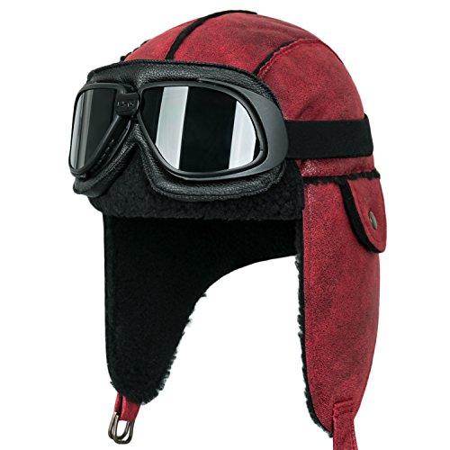 Flight Suit Costume Helmet (ililily Aviator Hat Winter Snowboard Fur Ear Flaps Trooper Trapper Pilot Goggles , Black goggle, Dark Brown/Beige)