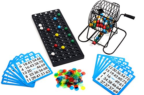 Regal Games Deluxe Bingo Cage Game Set - 8 Inch Metal Cage with Plastic Masterboard, 75 Multi-Color Bingo Balls, 50 Bingo Cards and Bingo Chips