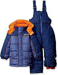 Boys' Plaid W/Pop Printed Snowsuit