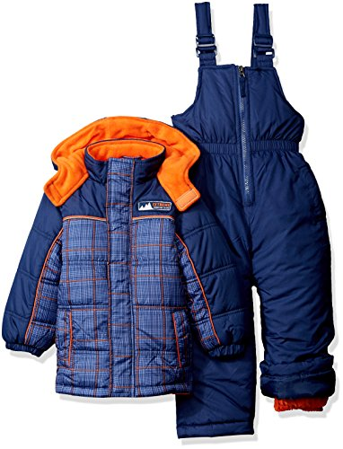 - iXtreme Baby Boys' Plaid with Pop Printed Snowsuit, Navy, 12 Months