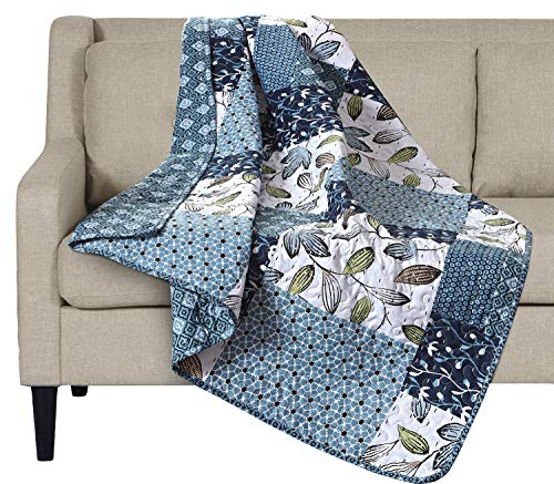 SLPR Pacific Coast Printed Quilted Throw Blanket (50 x 60)   Home Chic Multicolor Decorative Throw for Bed Couch Sofa