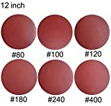 Sackorange 18 PCS 12-Inch NO-Hole PSA Aluminum Oxide Sanding Disc, Self Stick(3 Each of 80 100 120 180 240 400)