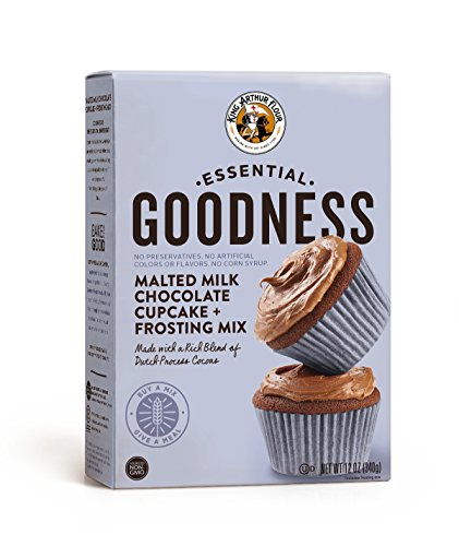 King Arthur Flour Essential Goodness Malted Milk Chocolate Cupcake Plus Frosting Mix, 12 Ounce (Mix Icing Chocolate)