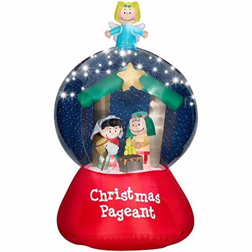 HUGE 9.6 Peanuts Nativity Scene Christmas Pagent Snow Globe Airblown Inflatable Lighted Yard Decoration Nativity Scene Snowglobe