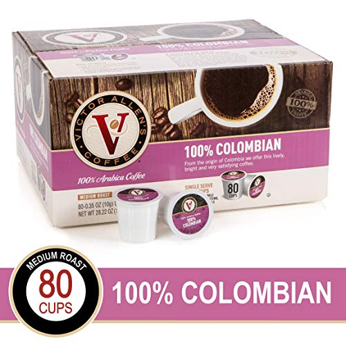 - 100% Colombian for K-Cup Keurig 2.0 Brewers, 80 Count, Victor Allen's Coffee Medium Roast Single Serve Coffee Pods