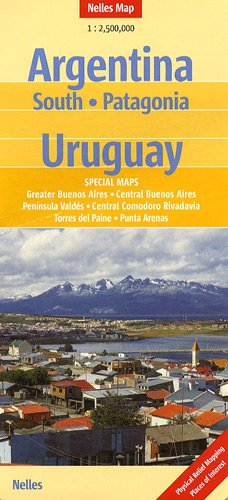 Argentina: South Patagonia Uruguay 1 : 2 500 000 (Nelles Map)