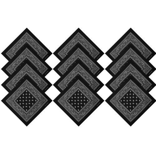 Black Bandanna (BOOLAVARD 1s, 6s, 9s or 12 Pack Cowboy Bandanas with Original Paisley Pattern (12 x Black))