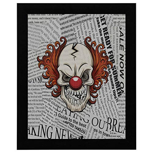 12x16Inch Black Wood Frame Kitchen Decorations Wall Art Evil Scary Clown Halloween Monster Joker Dictionary Newspaper Vintage Simple Wall Art Abstract Painting Hang Wall Decor Restroom Decor For Wall ()