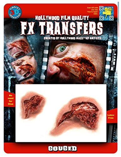 Tinsley Transfers GOUGED - Film Quality Realistic 3D Prosthetic Makeup FX Transfer. Apply With Water.