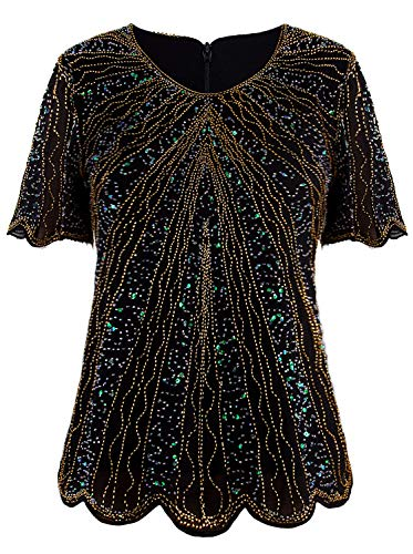 Sequin Tunic Blouse - VIJIV Women's 1920s Vintage Black Gold Beaded Tops Flapper Evening Top Roaring 20s Sequin Great Gatsby Shirt Blouse Tunic