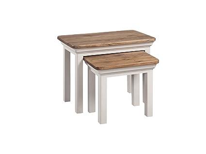Francés pintado roble Nesting Tables - Juego de mesas nido de roble ...