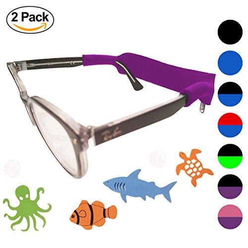 Baby Glasses Strap 2pk with Bonus Deep Sea Adventure Stickers (Purple Pink)