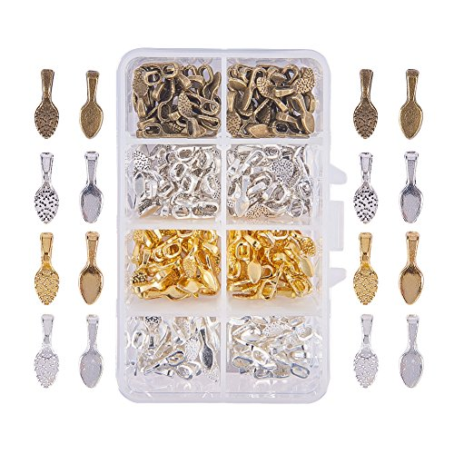 PH PandaHall 240 Pieces 4 Color Brass Spoon Glue-on Flat Pad Bails for Earring Bails or Scrabble and Glass Pendants Charms Connector Jewelry